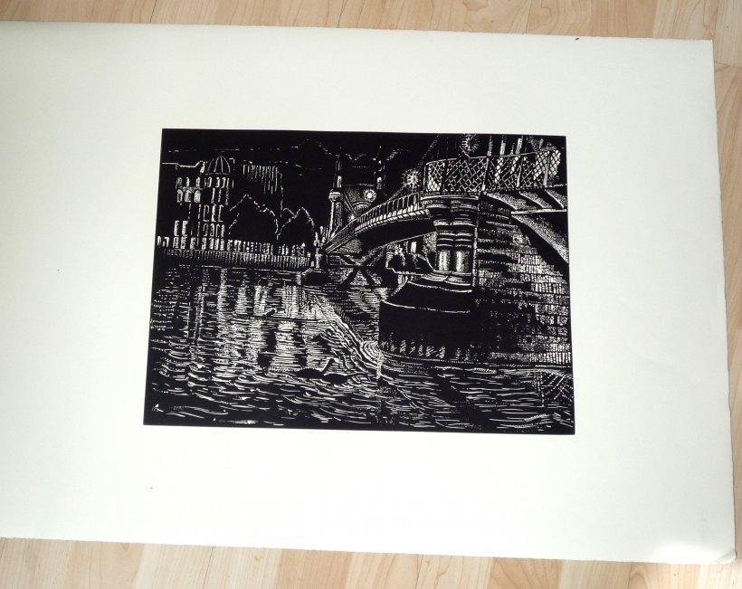 Hammersmith Bridge By Night (original print)