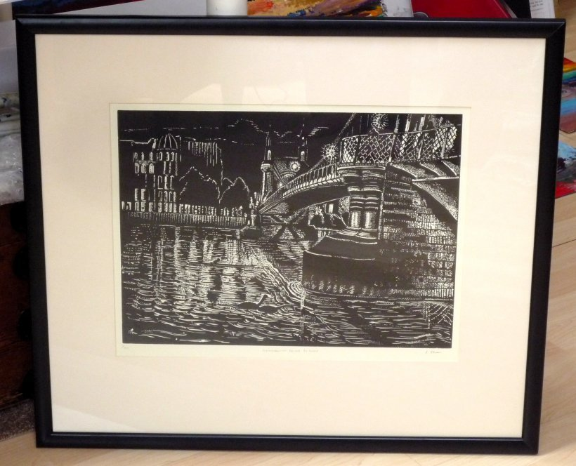 Hammersmith Bridge By Night (framed)
